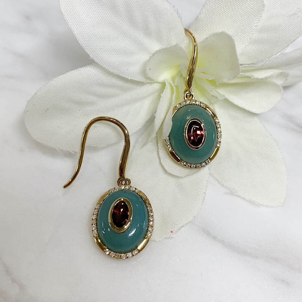 9ct Amazite, Tourmaline & Diamond Earrings