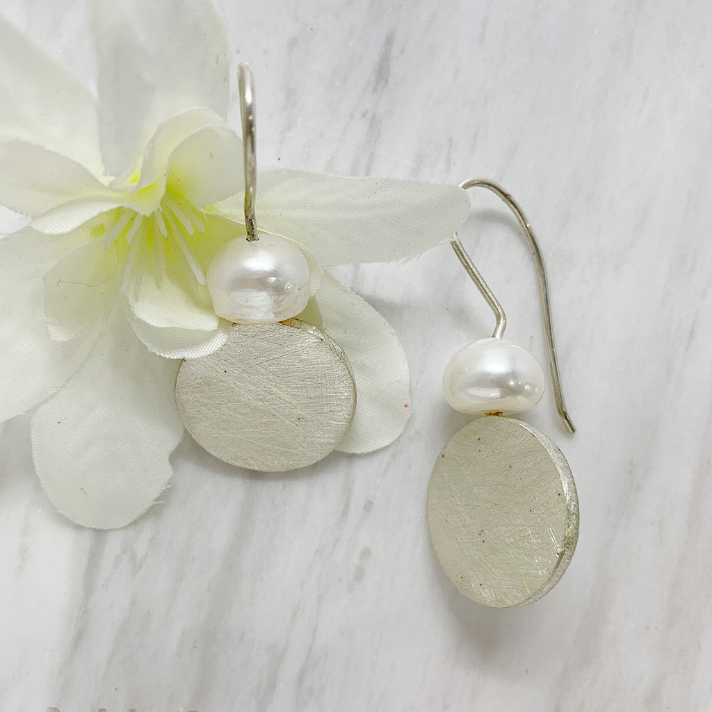 Sterling Silver Pearl & Disc Earring