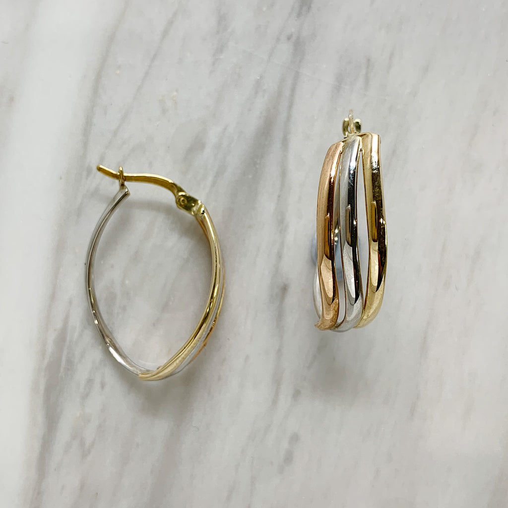 Three Tone Gold Hoop Earrings