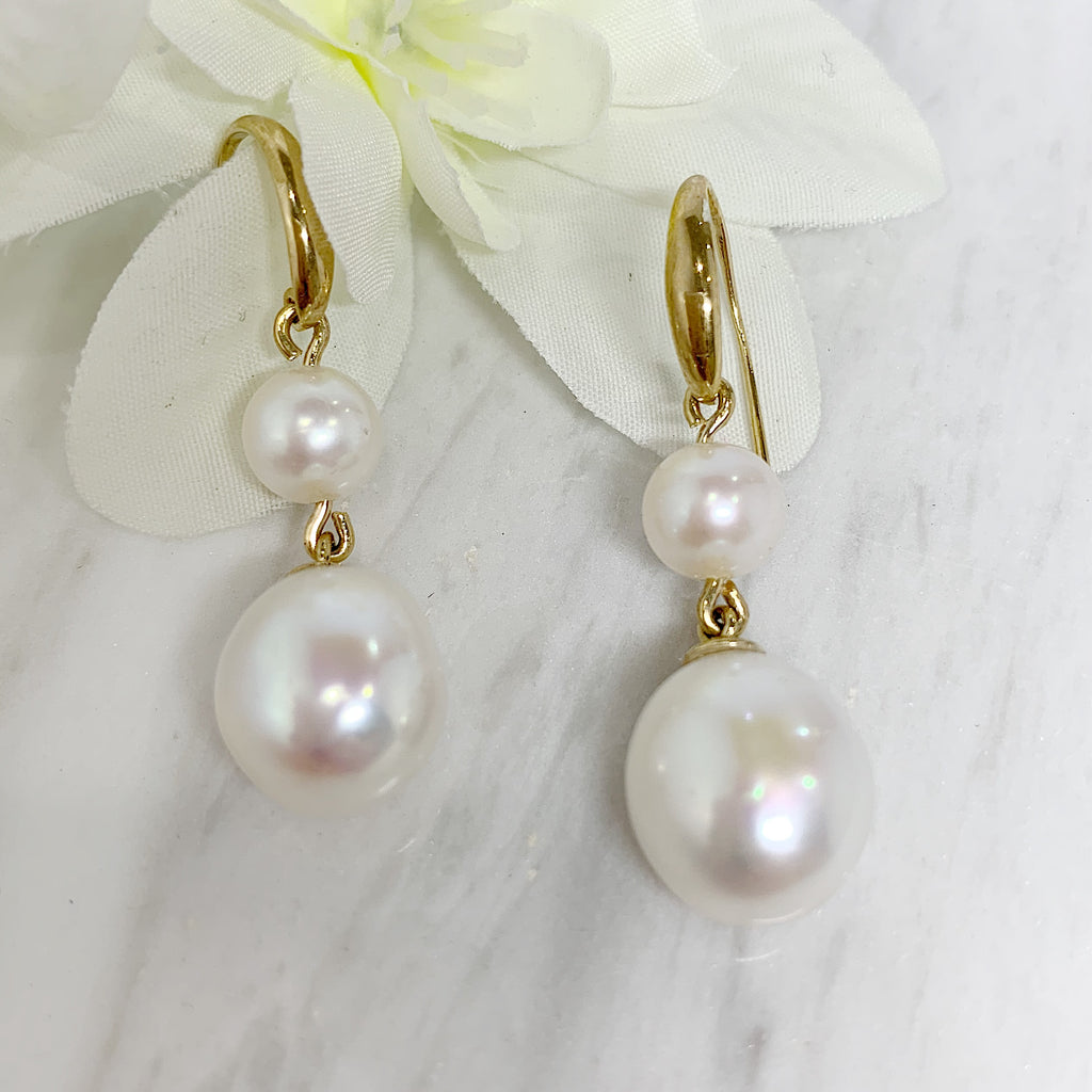 9ct Yellow Gold Double Pearl Earring