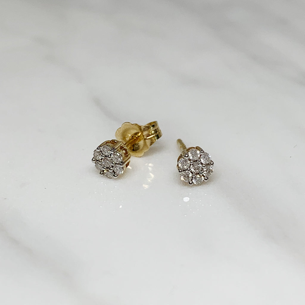 Gold Diamond Cluster Studs