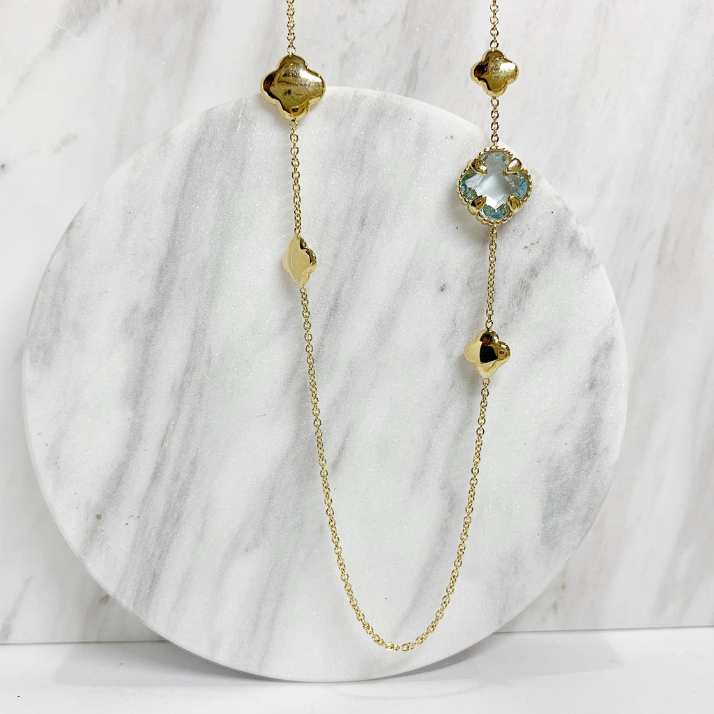 Yellow Gold Necklace with Blue Topaz