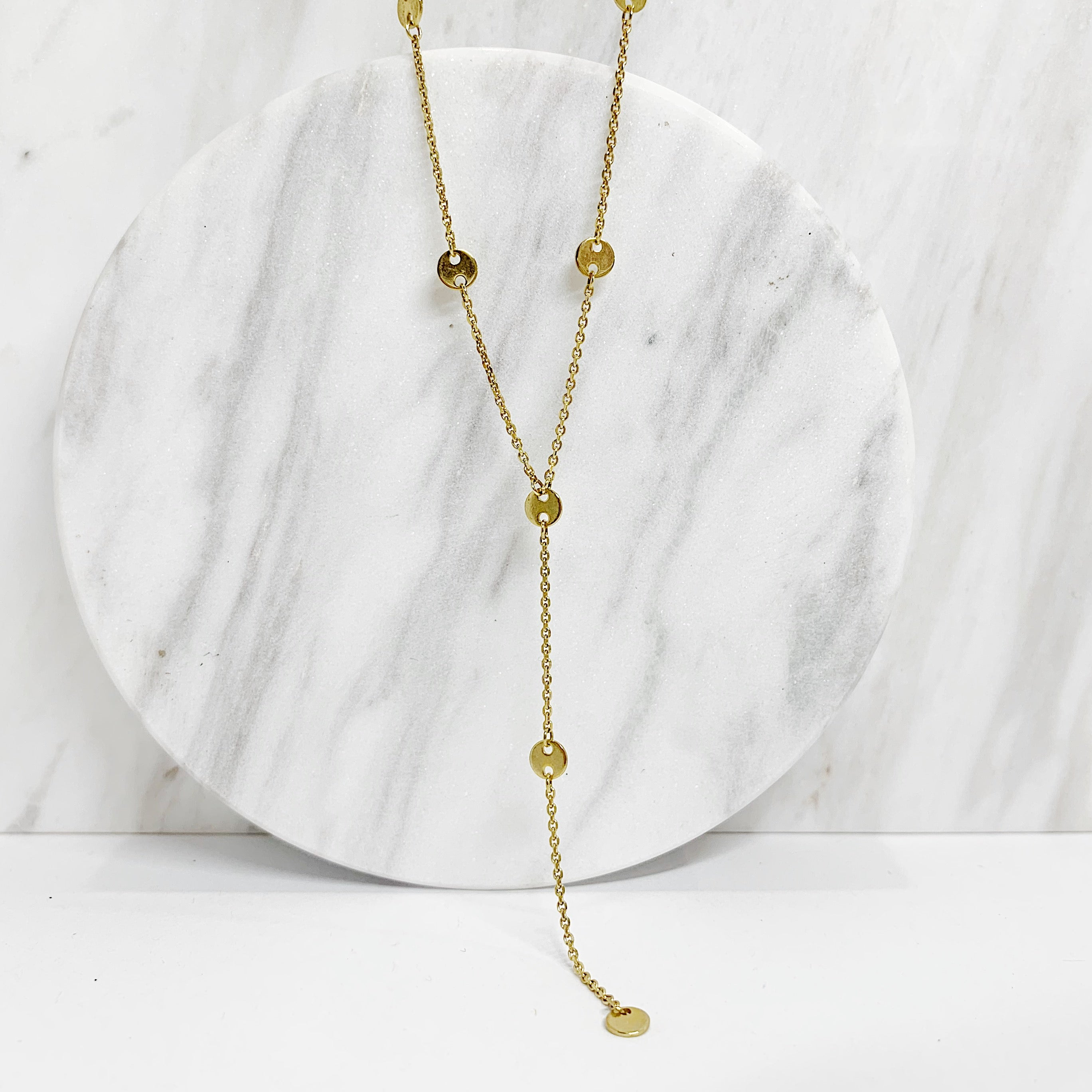 Yellow Gold Y Necklace with Discs