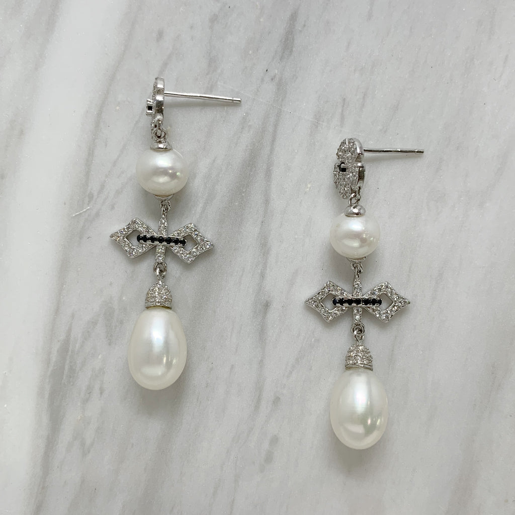 Sterling Silver CZ & Pearl Drop Earrings