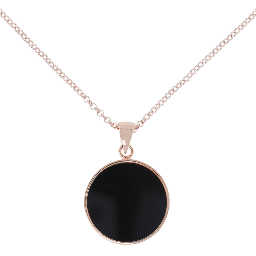 Alba Black Onyx Disc Necklace