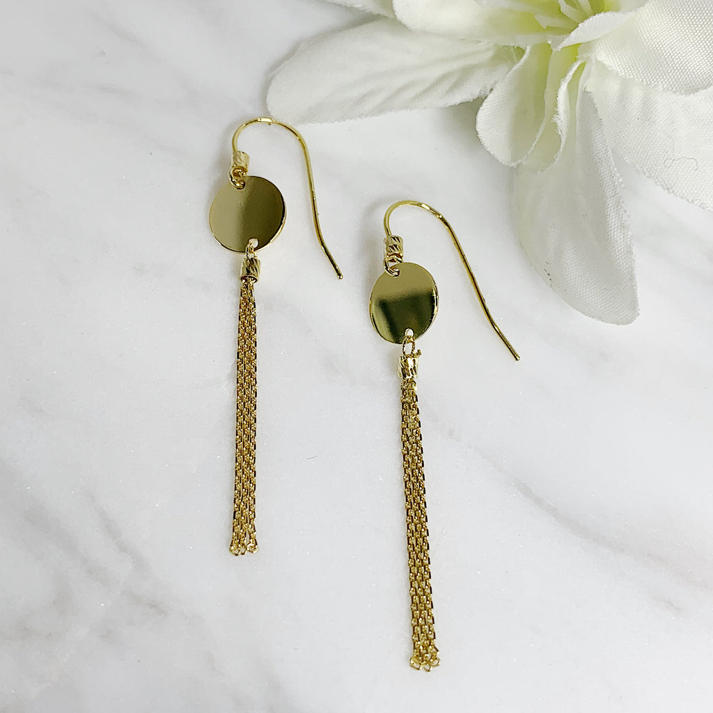 Yellow Gold Tassel Earrings