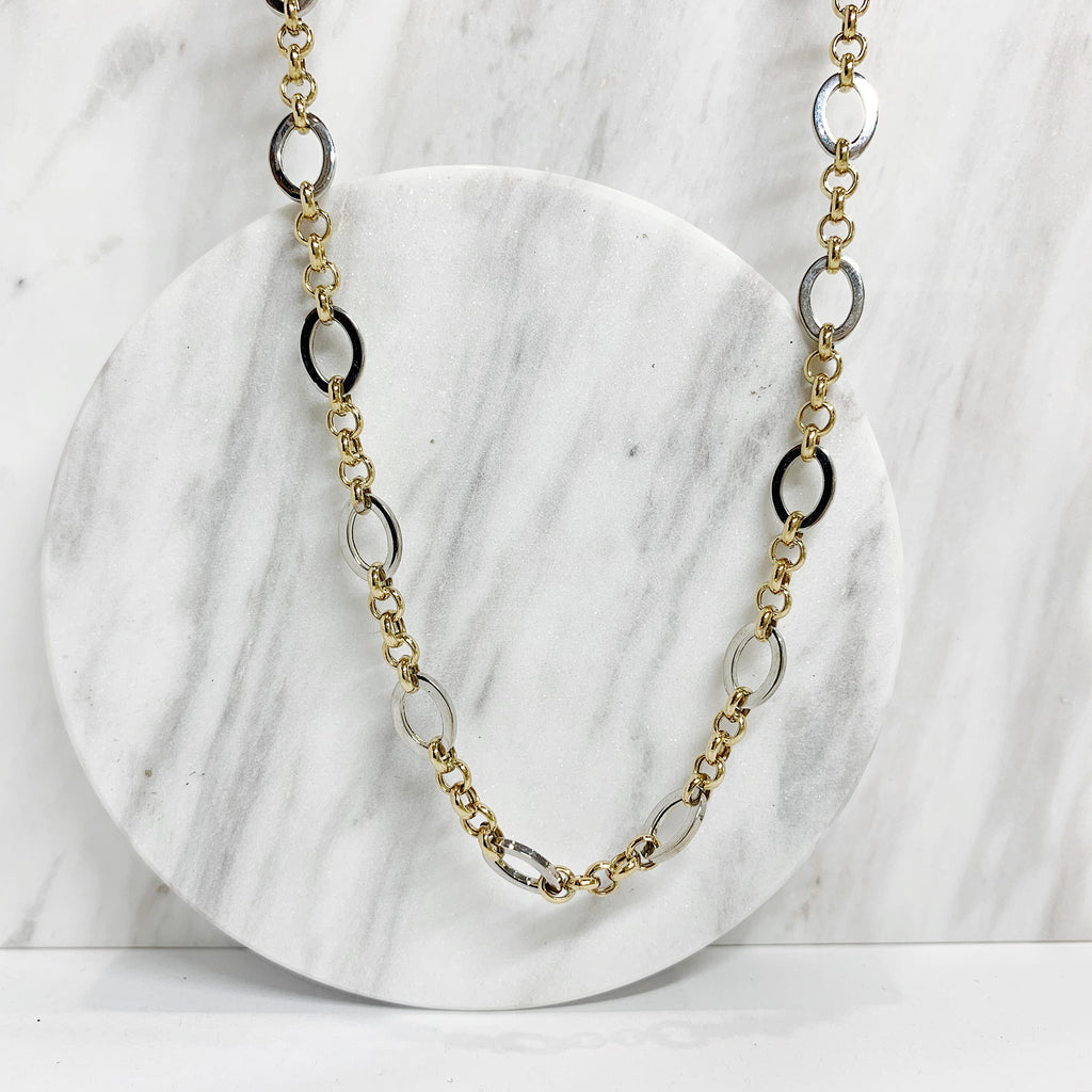 2Tone oval link necklace