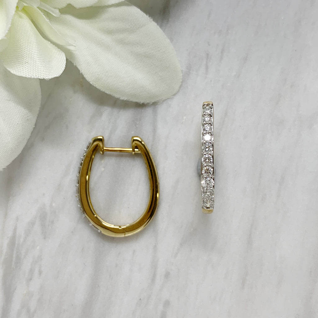9ct Yellow Gold Diamond Huggies