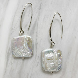 Square Baroque Pearl Earrings