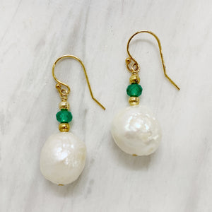 Yellow Gold Green Tourmaline & Pearl Earring