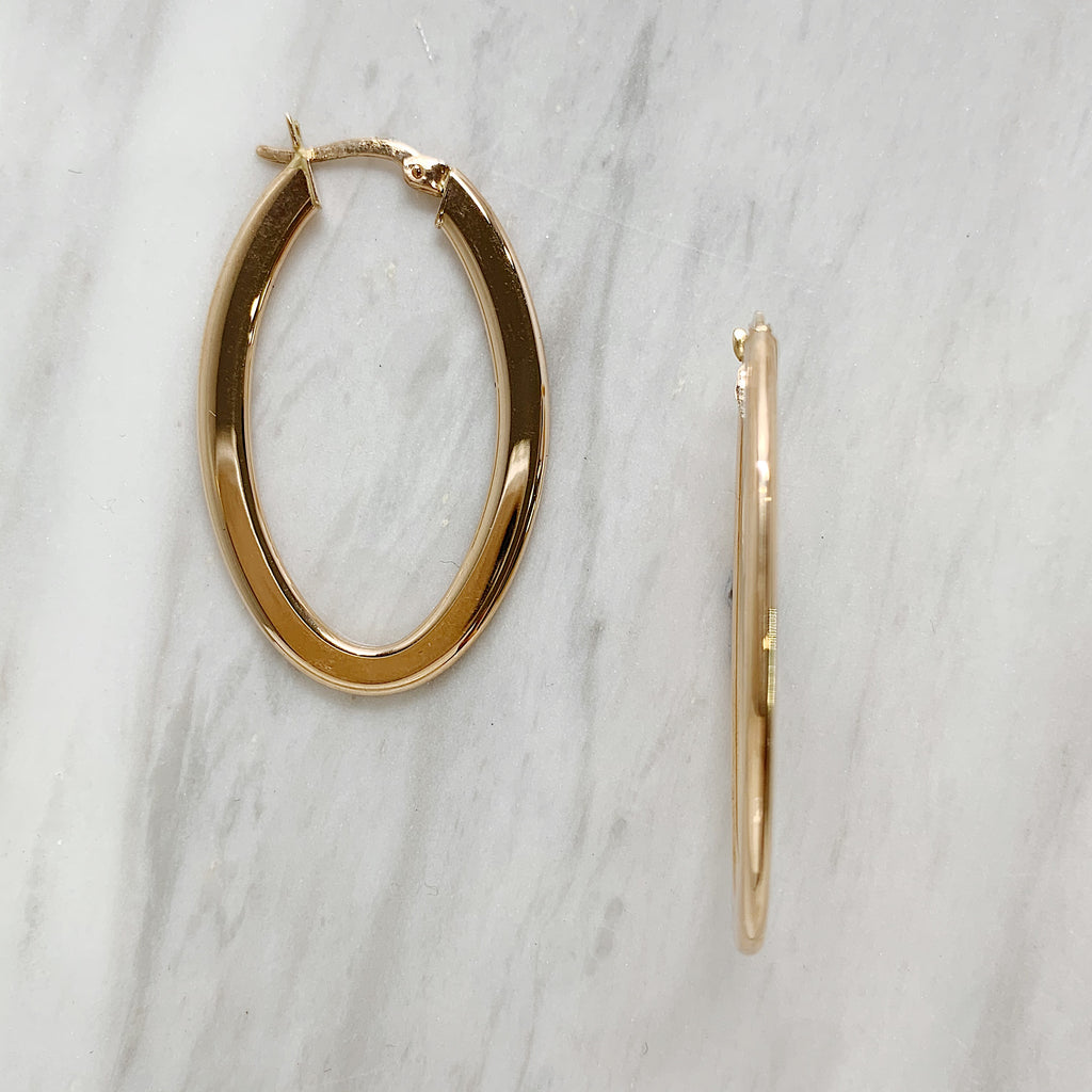 Rose Gold Oval Hoops
