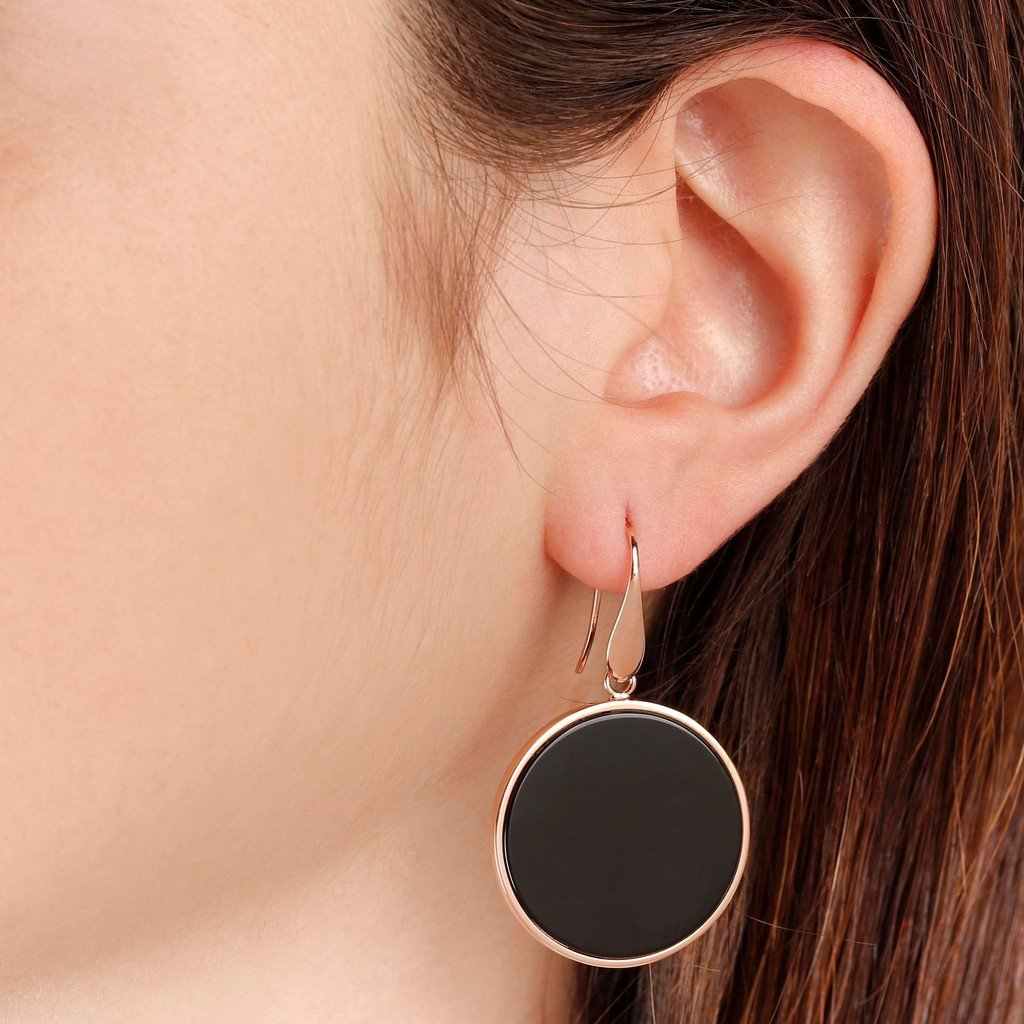 Alba Big Disc Earrings with Natural Stones