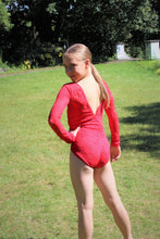 Load image into Gallery viewer, Lace Long Sleeve Leotard - Red