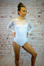 Load image into Gallery viewer, Lace Long Sleeve Leotard - White