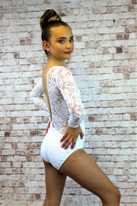 Lace Long Sleeve Leotard - White