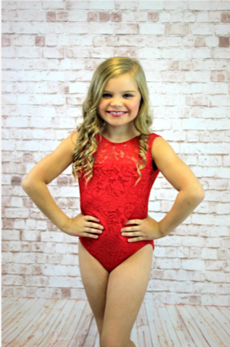 Lace Sleeveless Leotard -  Red