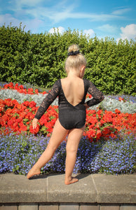 Lace Long Sleeve Leotard - Black