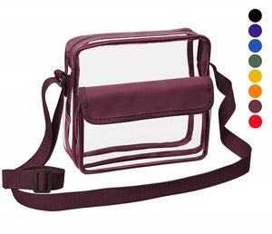 Medium Clear Cross-Body Messenger Shoulder Bag (CH-500-BUR) - Burgundy Trim