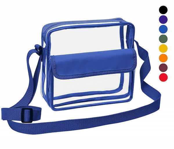 blue clear stadium bag for football games