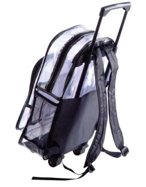 clear backpack on wheels