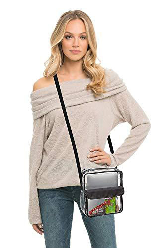 Tablet Size Clear Cross-Body Messenger Shoulder Bag - Black Trim (CH-510-BLK)