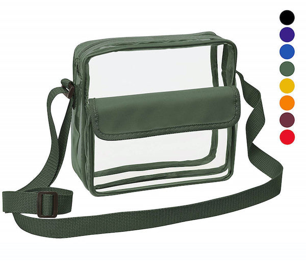 Medium Clear Cross-Body Messenger Shoulder Bag (CH-500-GRN) - Green Trim