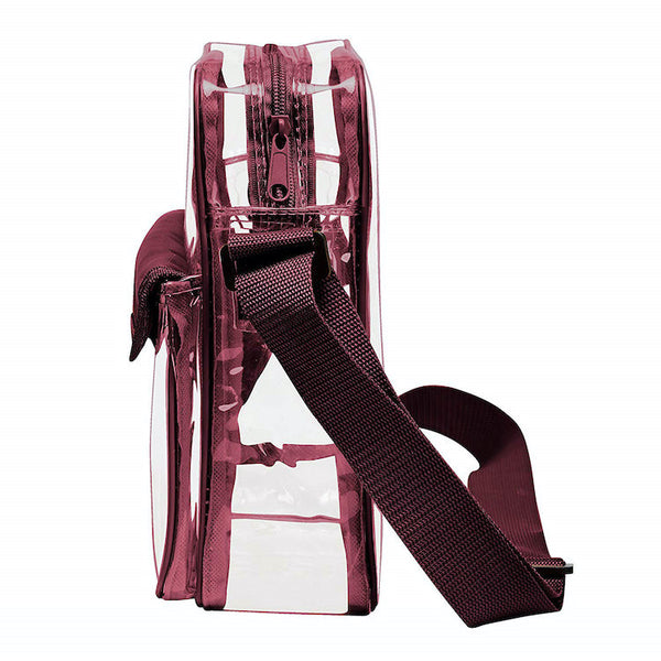 clear stadium bag burgundy