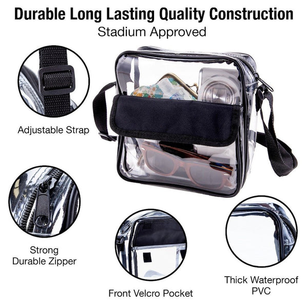 clear stadium purse black