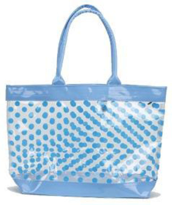 clear tote bag with blue polka dots