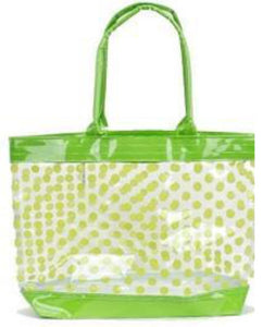clear tote bag with green polka dots