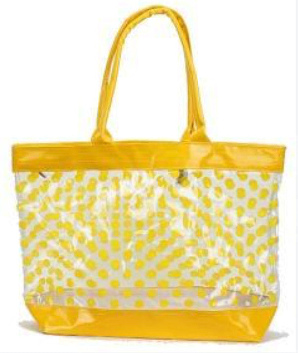 clear tote bag with yellow polka dots
