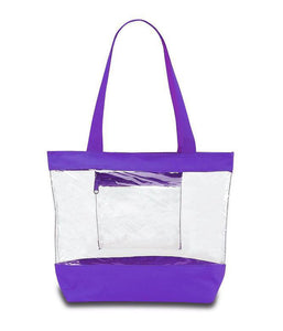 clear tote bags in bulk purple