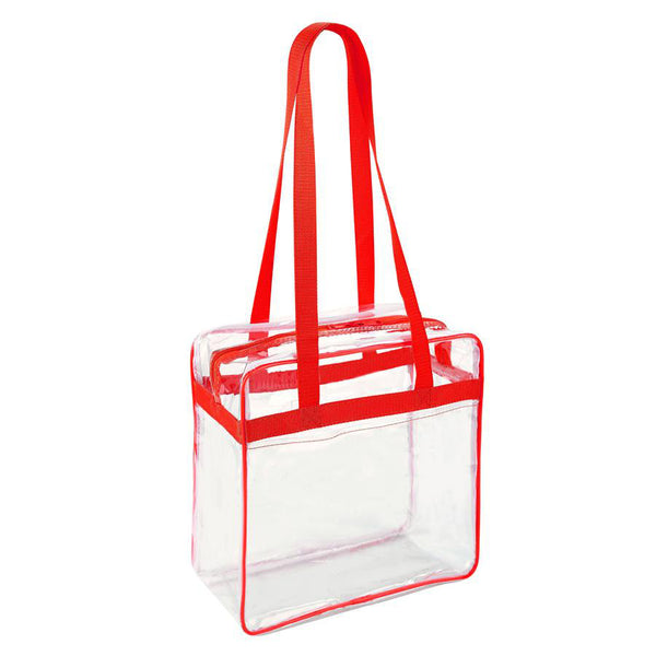 clear tote bags in bulk red