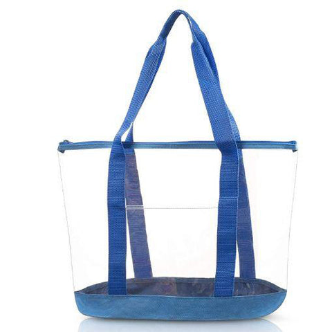 large clear tote bag blue