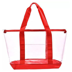 large clear tote bag red