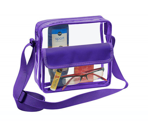 purple transparent stadium purse