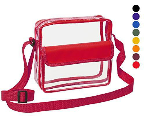 red clear crossbody stadium bag