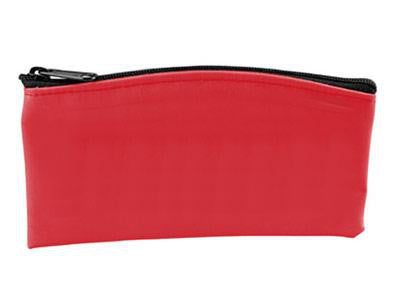 red pouch with zipper