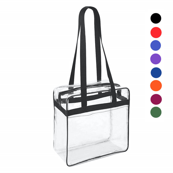 Clear NFL Stadium 12 x 12 x 6 Tote Bag with Zipper Closure (CH-1401-BLK)