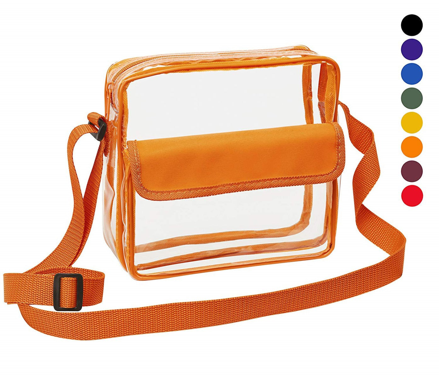 Medium Clear Cross-Body Messenger Shoulder Bag (CH-500-ORG) - Orange Trim