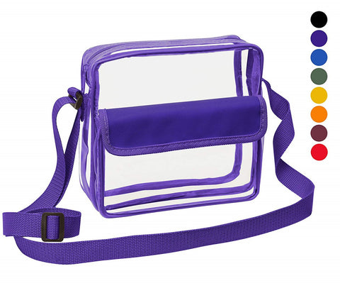 Medium Clear Cross-Body Messenger Shoulder Bag (CH-500-PUR) - Purple Trim