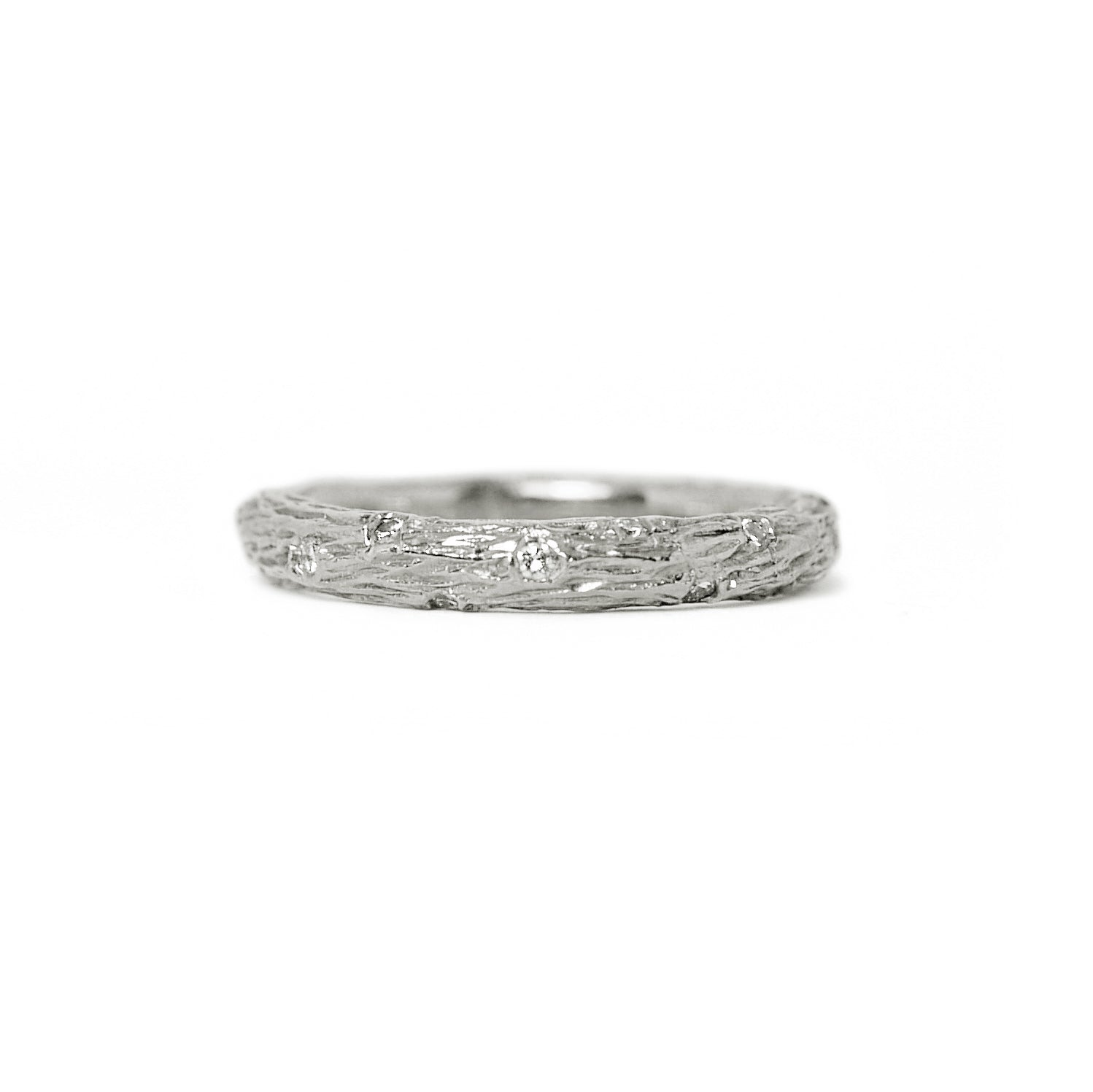 white gold diamond olive branch ring