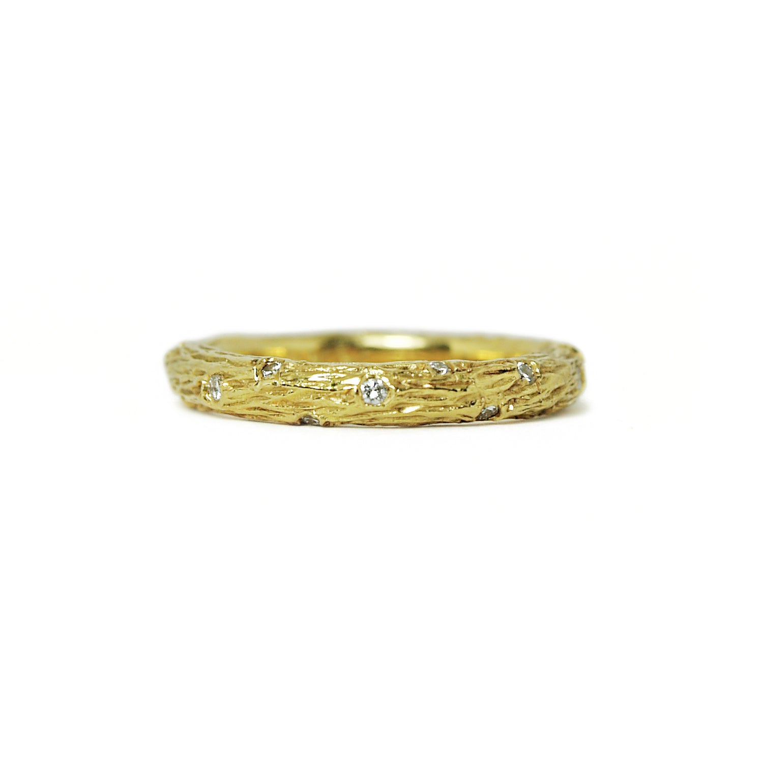 yellow gold diamond olive branch ring