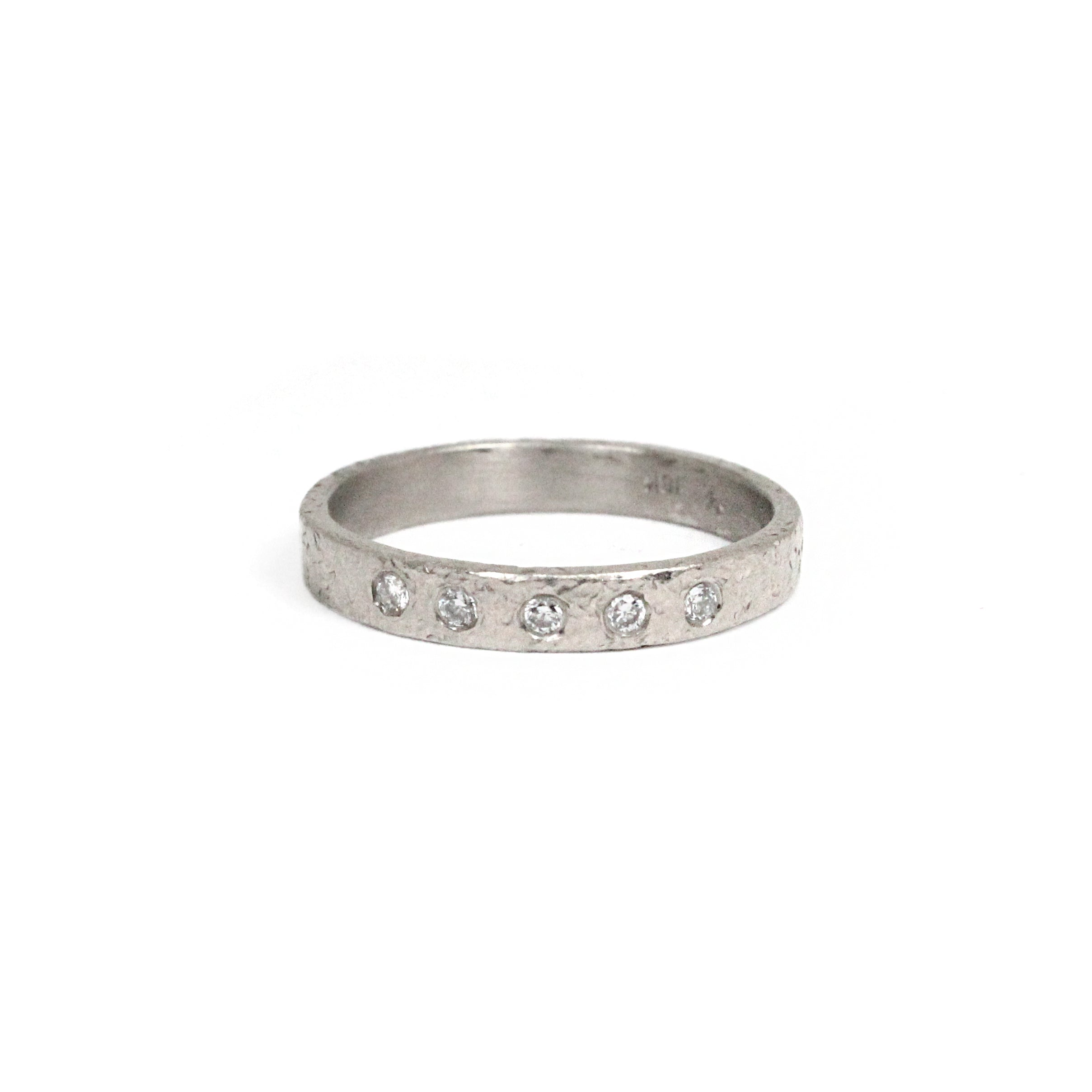 white gold and diamond textured ring