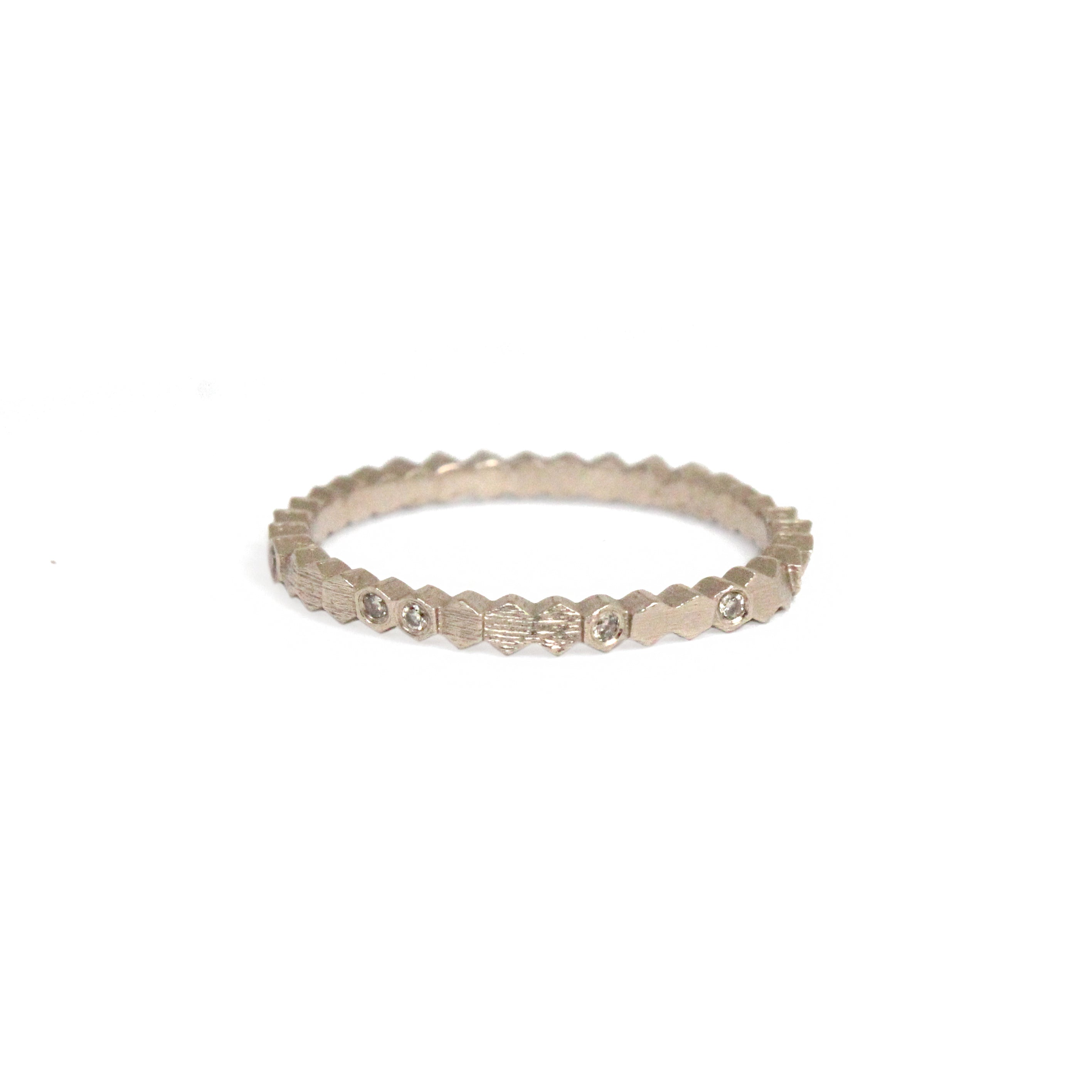 warm white gold and diamond 'single hex' ring