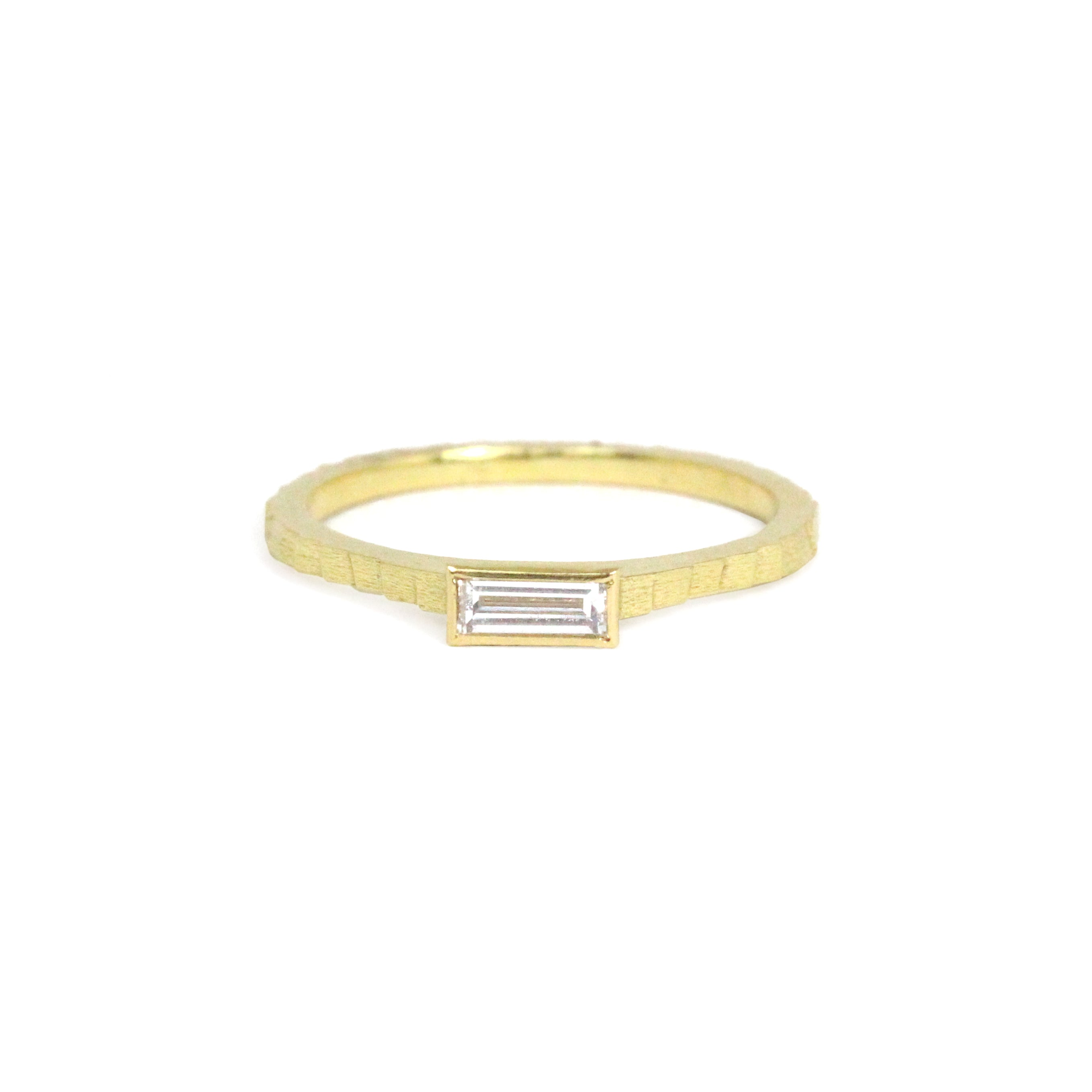 baguette diamond 'single square' ring