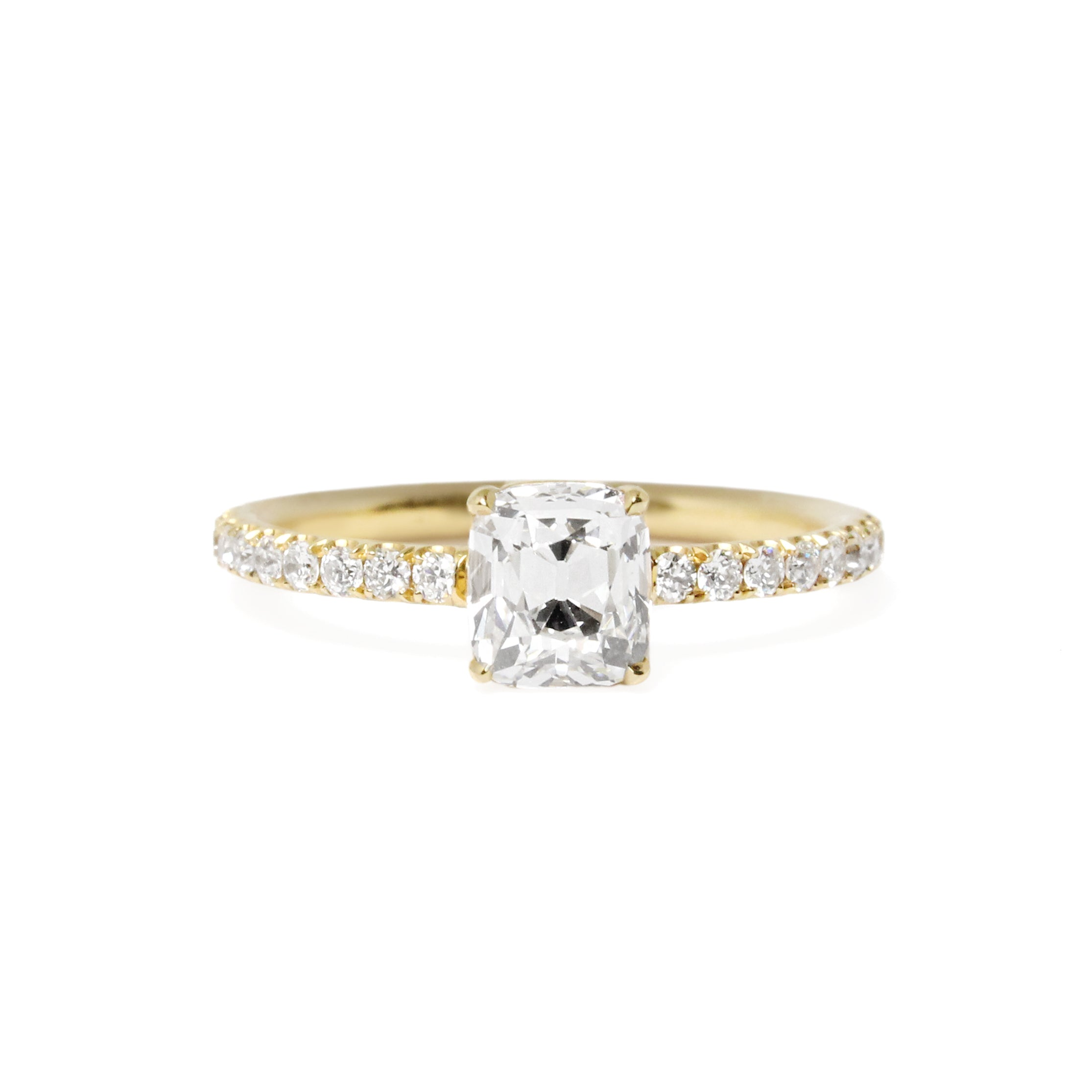 one of a kind cushion-cut diamond ring