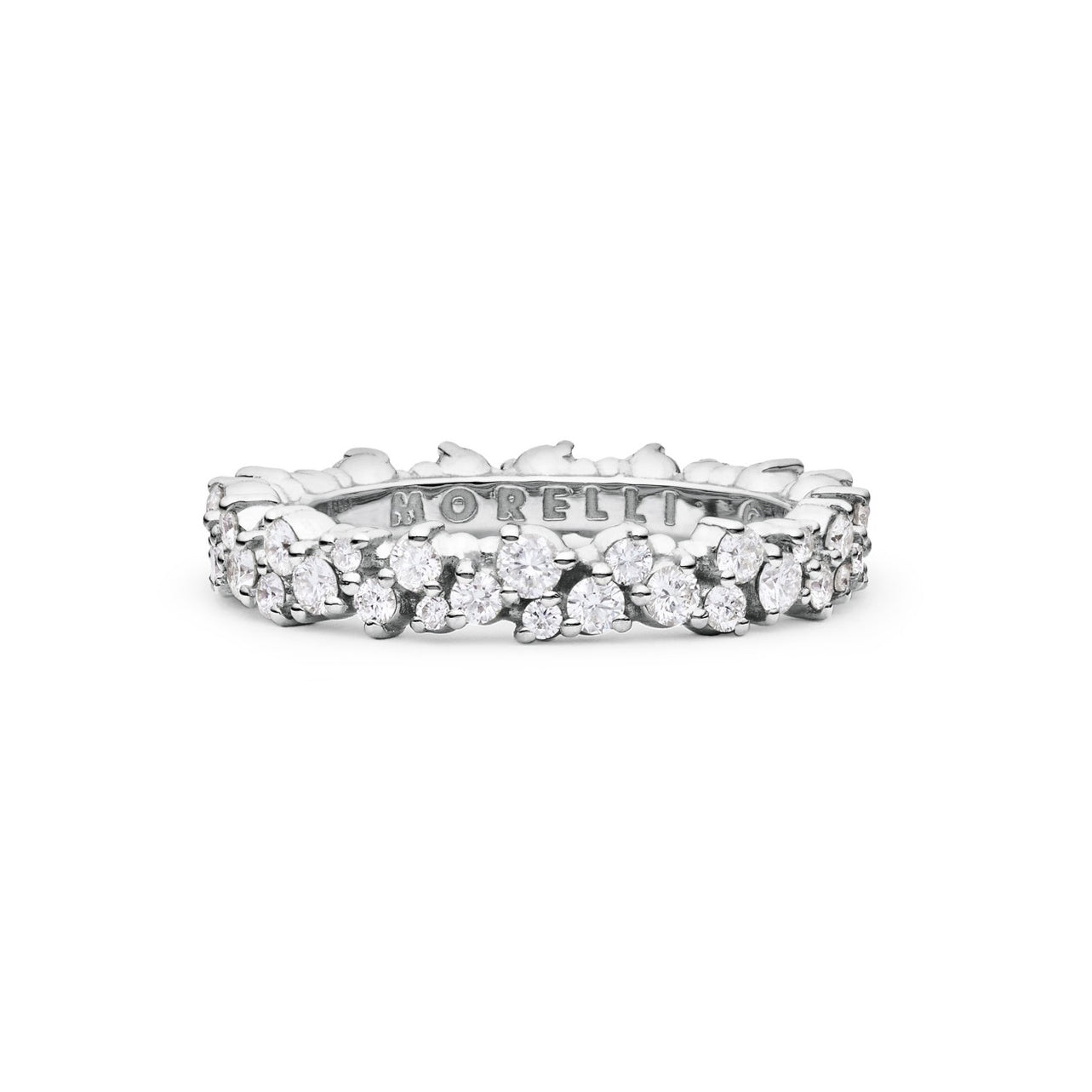 "white gold diamond ""confetti"" ring"