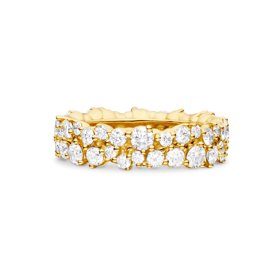"yellow gold diamond ""confetti"" ring"