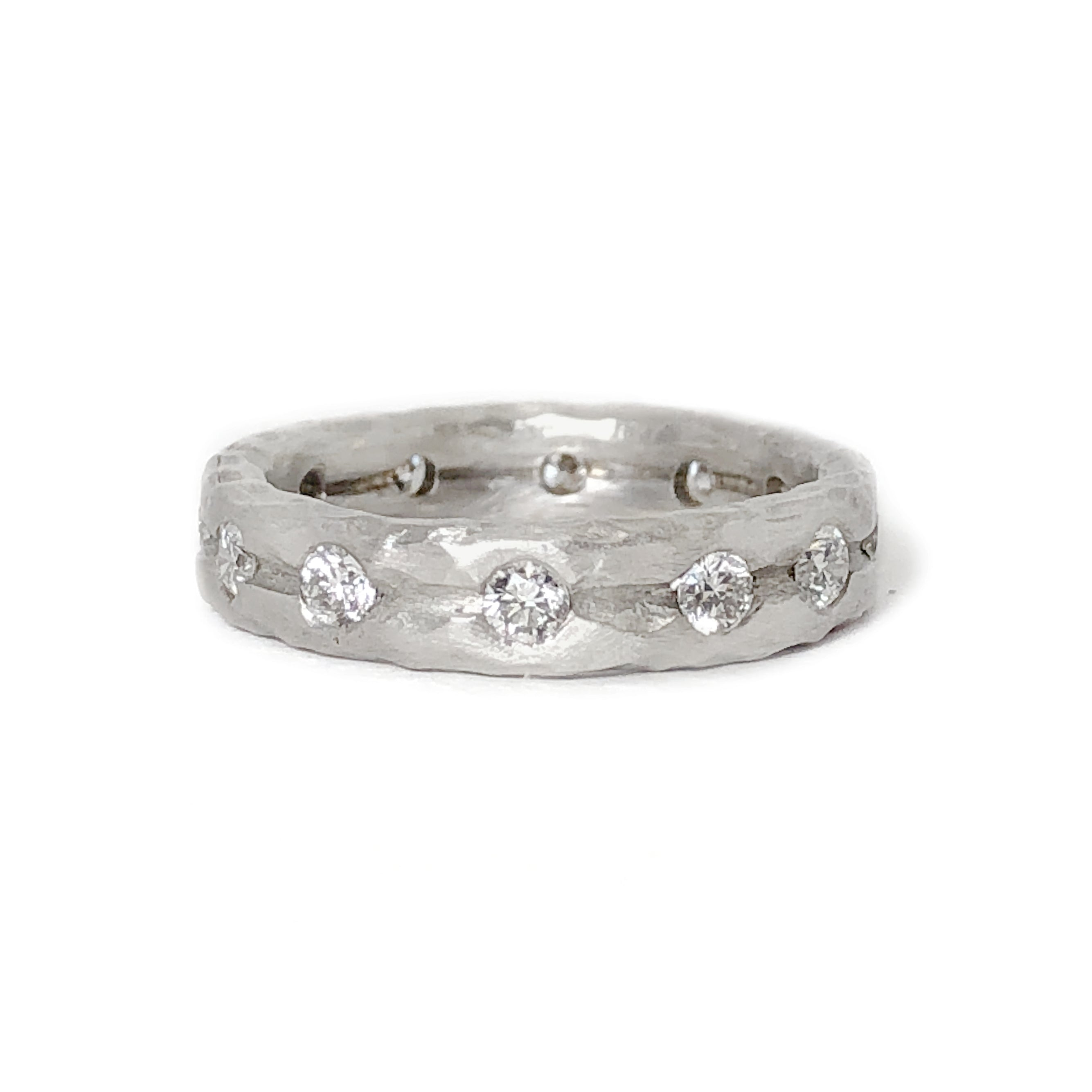 "white gold double ""crush"" diamond ring"